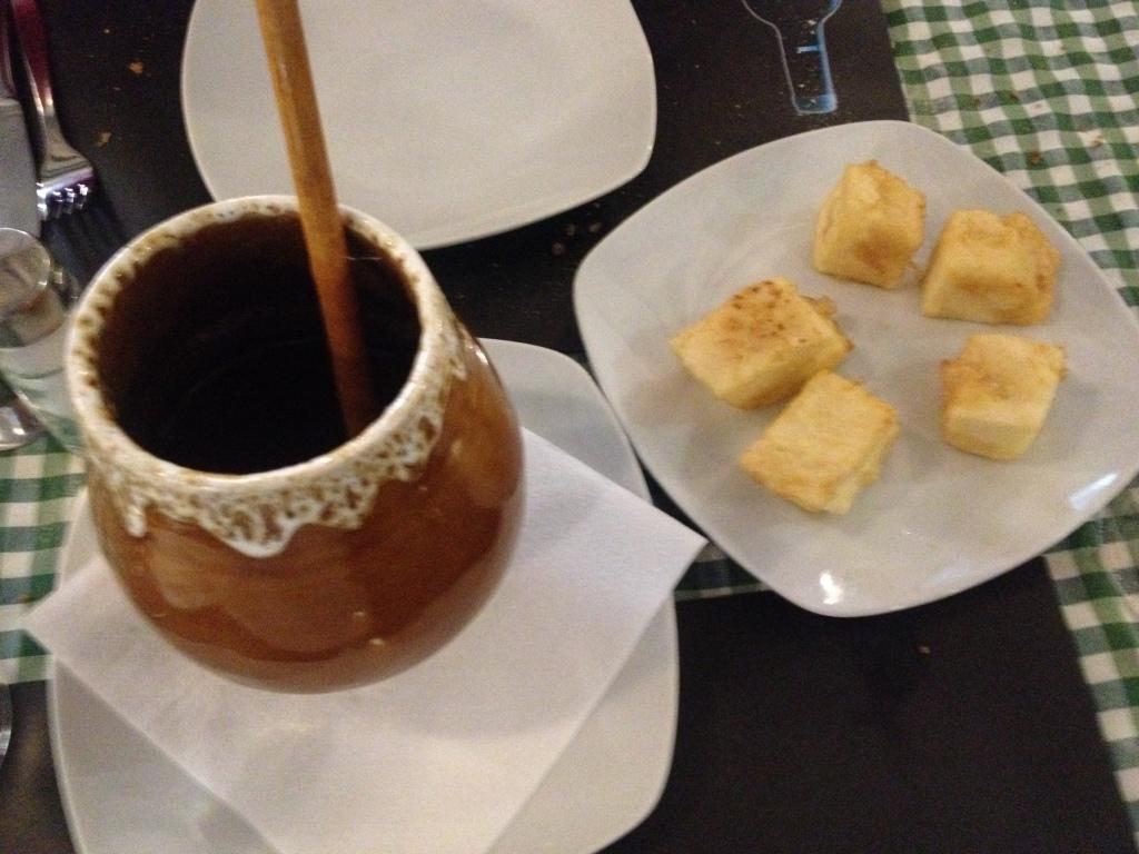 ... und als Dessert Leche Fritada mit Honig ..