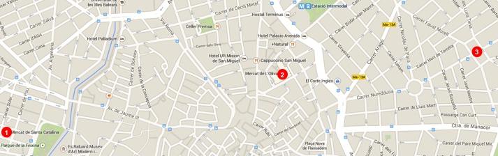 Die Lage der Markthallen: (1) Santa Catalina, (2) L'Olivar, (3) Pere Garau