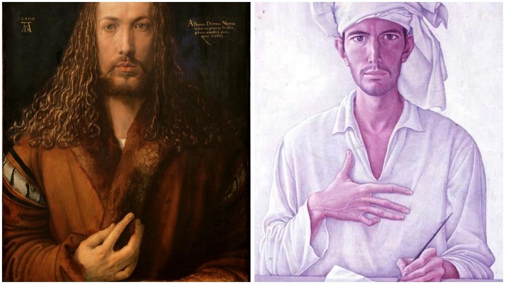 Vergleich Dürer-Mati Selbstportrait