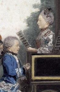 Mozart und die Sängerin von Louis Carrogis (Carmontelle) 1763 Detail